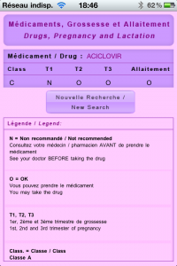 Drugs in Pregnancy - Médicaments et Grossesse - iPhone - iPad